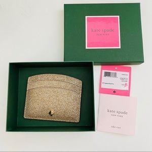 💫KATE SPADE Glitter Leather Cardholder Brand New